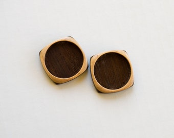 Pendant Setting - Brooch Blank - Handcrafted by ArtBASE - Walnut and Maple - Round - 30 mm - Circle - (F23c-W) - Set of 2
