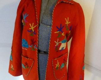 Vintage Mexican Folk Art Embroidered Appliqued Jacket 60s