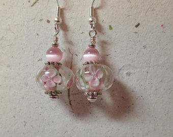 Pale Pink and White Floral Glass Earrings on Silver