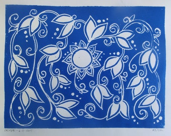 Family Tree Block Print Poster - 5 Generations - Handmade Print - Ultramarine Blue Decorative Floral - Mother's Day Gift - Baby Shower Gift