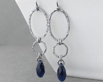 Long Earrings for Women Indigo Crystal Earrings Silver Drop Earrings Navy Blue Earrings Geometric Jewelry Gift for Her - Adorned Aubrey