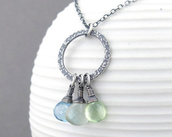 Gray Moonstone Necklace Multi Gemstone Necklace Silver Layering Necklace Sterling Silver Jewelry Gemstone Jewelry Handmade Necklace - Rachel