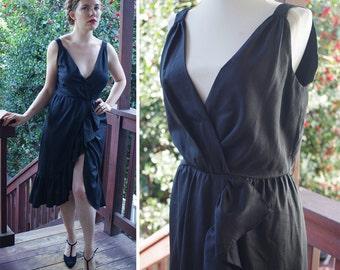 BLACK Dahlia 1960's 70's Vintage Black Sleeveless Dress with Ruffles // Plunging Nackline // size Medium // by LILLI Diamond