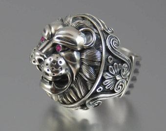 LION'S HEAD sterling silver statement ring with rubies eyes