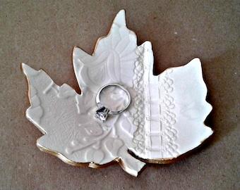 Ceramic Leaf  Trinket Dish OFF WHITE with gold edging