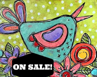 SALE PRICED! A Sunny Walk Original Mixed-Media Collage Acrylic Sweet Garden Floral Painting