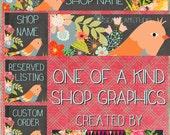 BirdLand floral Etsy shop Banner graphic set by Sea Dream Studio  OOAK