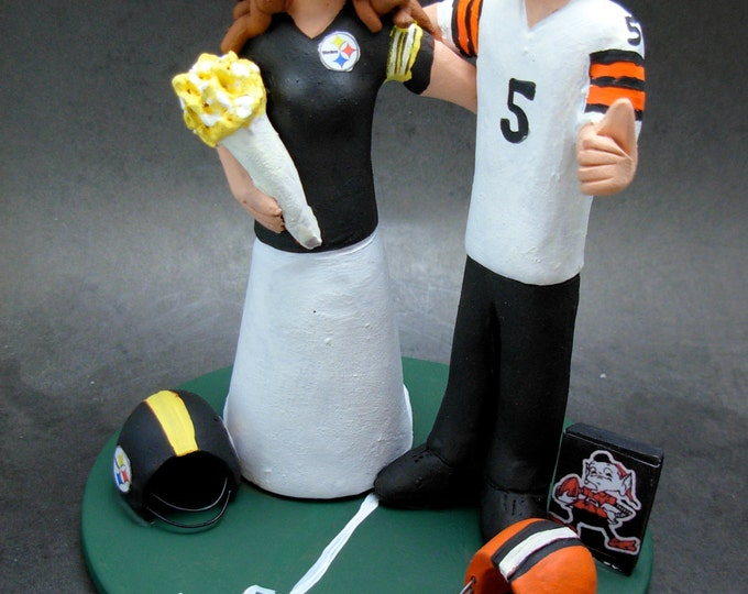 Steelers Bride Wedding Cake Topper, Cleveland Browns Football Wedding Cake Topper, Football Wedding Anniversary Cake Topper,