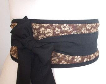 Obi belt 'Brown Japanese sakura blossom' by loobyloucrafts