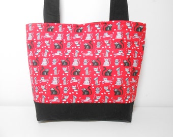 Black Cat Tote Bag, Cat Medium Purse with Pockets, Red and Black Cat Purse