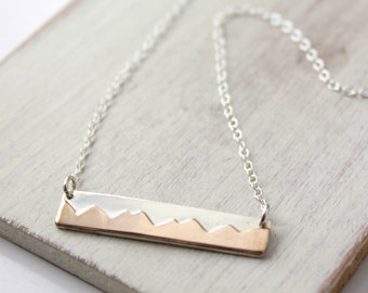 Bronze and Silver Mountain Range Bar Necklace