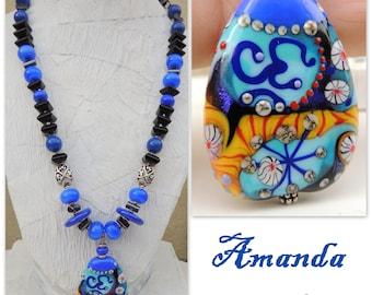 Amanda Handmade Lampwork, Onyx, Hematite, Sterling Pendant Necklace