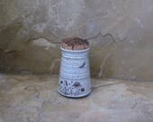 Teeny Wee Canister Jar - Handmade Stoneware Ceramic Pottery -White - Wildflowers - 8 ounces