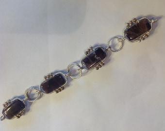Purple Amethyst Argentium Silver Bracelet
