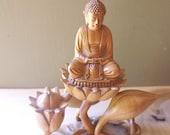 Carved Wood Buddha Figurine Statue Sitting on Lotus Flower