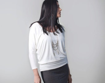 Bohemian Women's Top • Dolman Sleeve Shirt • Loose Blouse • Low Scoop Neck • Loft415 Clothing (No. 818)