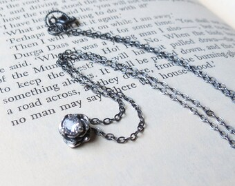 White Topaz Gemstone Flower Necklace in Sterling Silver Oxidized finish ready to ship