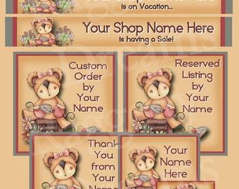 Cute Garden Teddy Bear - Premade Etsy Shop Design - Etsy Shop Banner Set - SHOP ICON - Shop Profile Photo