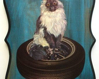 Original Collage on Wood-Black & White Persian Cat on Tire
