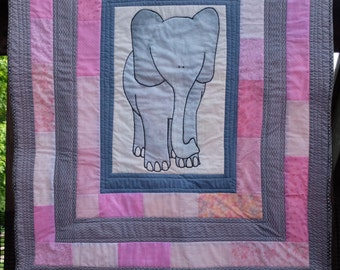 Pink Elephant Quilt by Made Marion