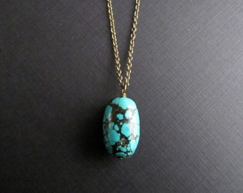 Turquoise Pendant Necklace, Simple Brass Boho Necklace