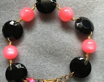 Bright Pink and Black Bead Party Bracelet