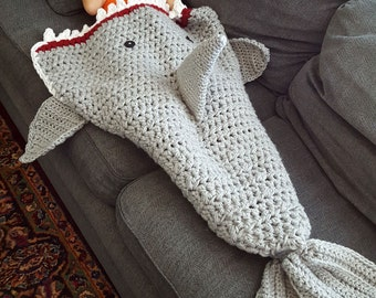 Shark Blanket - Crochet - Preschool/Child/Adult
