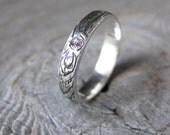 womens KNOTTY PINE branch wedding ring woodgrain ring sterling silver Made to Order