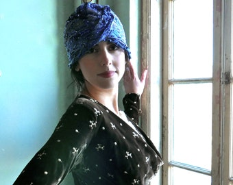 1920s Cobalt Blue Sequined Cloche