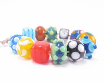 Artisan Lampwork Orphan Beads SRA Bright Fun and Funky