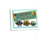 Owl Birthday Card, Owl Card,  Birthday Card, Nature Card, Kids Birthday Cards, Friend Card, Animal Card, Fancy Handmade Card