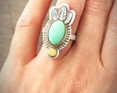 Lucin Utah Variscite ring with 22k gold accents - made in your size - cocktail ring - statement ring - unique ring