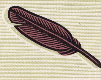 Feather Art Print Card Linocut Handmade Stamp Stocking Stuffer Gift