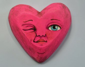 Valentine Anthropomorphic Heart Wooden Sculpture Folk Art Ornament OOAK
