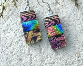 Rainbow Pink Gold Blue Earrings, Dangle Drop Earrings , Sterling Silver, Dichroic Earrings, Glass Earring, Fused Glass Jewelry, 091716e102