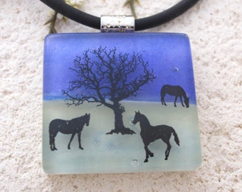 Horse Necklace, Fused Glass Jewelry, Dichroic  Pendant, Dichroic Glass Jewelry, Equestrian Jewelry,Blue Green Horse Necklace,  102616p102