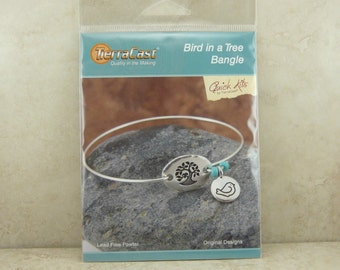 TierraCast Quick Kit > Bird in a Tree Bangle Bracelet - Bodhi Canary Birdie Summer - American Made Lead Free Pewter I ship Internationally
