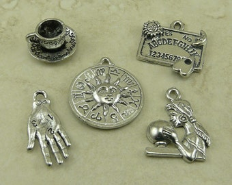 5 Madame Trelawney Divination Mix Charms > Harry Potter Fortune Teller Magic Raw Lead Free Pewter Silver American Made Ship Internationally