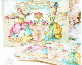 Marie Antoinette tea party invitations, let them eat cake, bridal shower, birthday invitations, set of 4