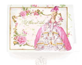 Marie Antoinette card, let them eat cake, birthday card, card for her, pink, macarons, all occasion card