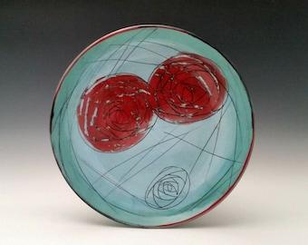 Large Ceramic Rose Plate