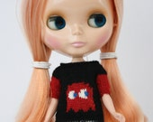 Blythe doll Clyde Sweater knitting PATTERN - cute videogame 80s retro ghost sweater - instant download - permission to sell finished items