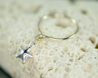 delicate sterling silver dangle ring with a STAR charm