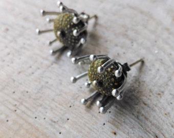 Green Sea Urchin Post Earrings, Tiny Sea Anemone Earrings, Little Studs with Sea Urchins