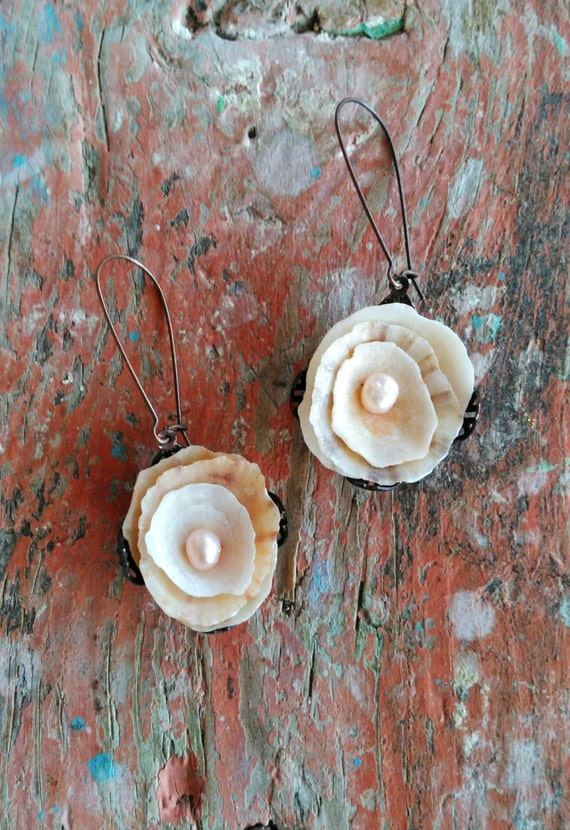 Shell and Pearl Rose Earrings - Sea Treasure Collection