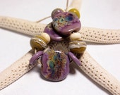 Mermaid Glass Eclectic Lampwork Beads set- Handmade Organic Tabs Lavender Purple