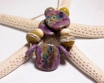 Mermaid Glass Eclectic Lampwork Beads set- Handmade Organic Tabs Lavender Purple
