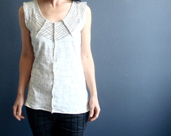 Gratitude Walks - iheartfink Handmade Hand Printed Womens Modern Minimal Off-White V Neck Wearable Art Geometric Print Sleeveless Jersey Top
