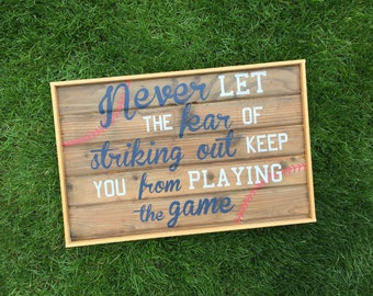 Striking Out  framed reclaimed wood sign painted vintage style baseball decor  baseball sports room wall hanging softball shiplap