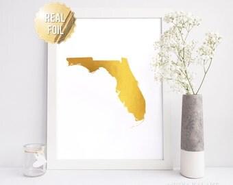Gold Map Florida - Florida Wall Art - Real Gold Foil Print - Gold Foil Wall Art - Miami Florida - FL State Map - Florida Home Gift